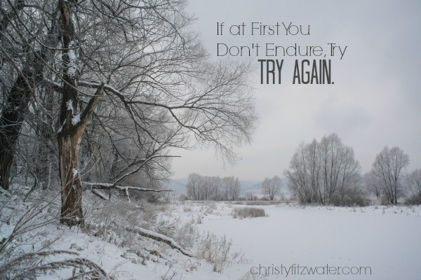 If at First You Don't Endure, Try, Try Again -christyfitzwater.com